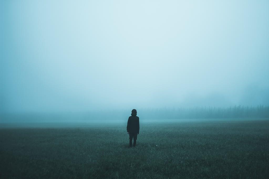 person standing in field in fog