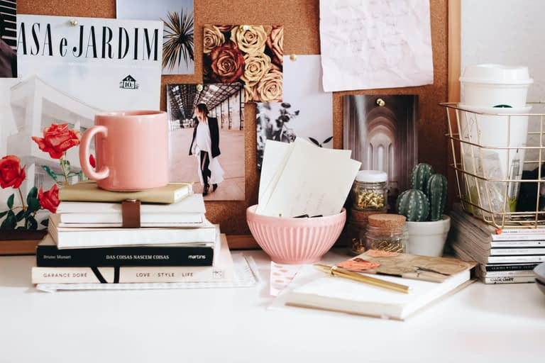 coffee mug on book