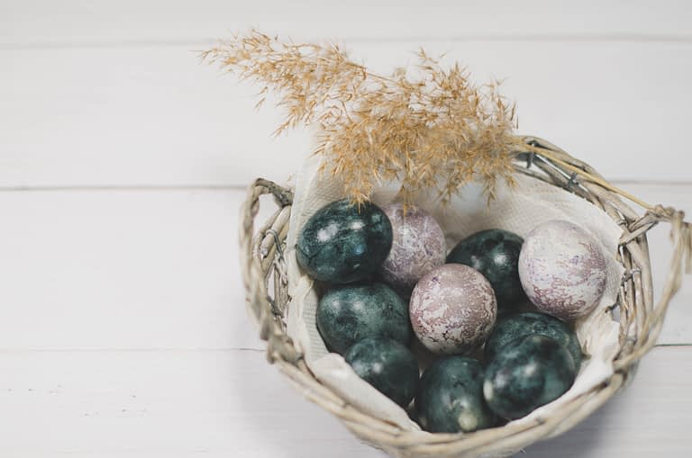 basket filled with stones