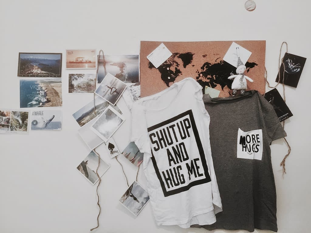 mood board with grey and white t-shirt hanging