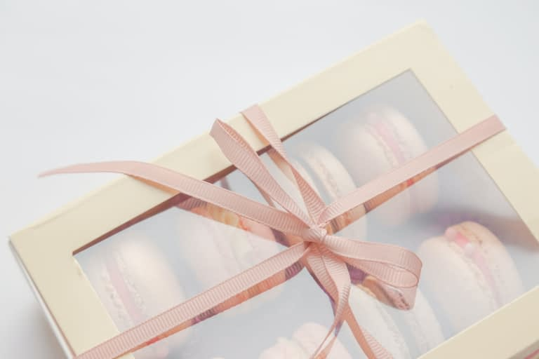 pink macaroons in box