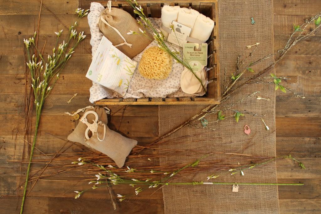 bathroom items in wooden crate