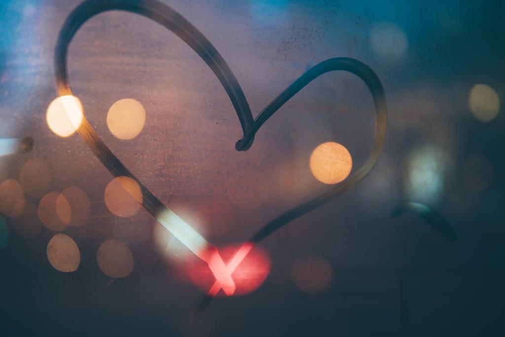 heart drawn on window